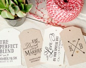 Custom Wedding Favor Tags - Paper Tags - add a design from my store or your own text - Packs of 25 - Buy 50 or More