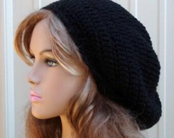 Slouchy Hat, slouchy beanie, Woman Slouchy Beanie, Man Black Tam Dread hat, Hippie Beanie Hat Handmade Crochet