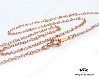 16 inch 14K Rose (Pink) Gold Filled Cable Chain Necklace with clasp  2mm FC19