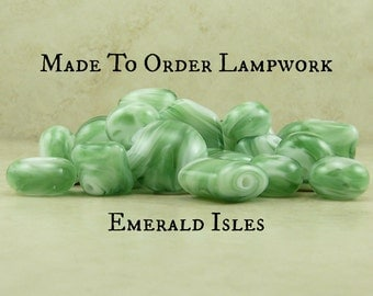 Emerald Isles > Green Vert Verde Grass Leaf Spring Ireland St Patricks Day - Made To Order Lampwork Beads SRA - Please READ Full Description