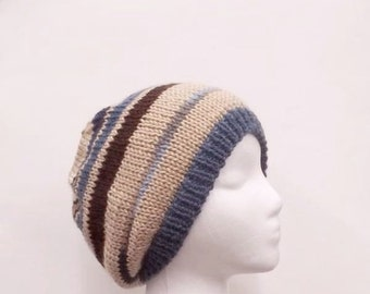 Knitted beanie hat blue and brown stripes  4995
