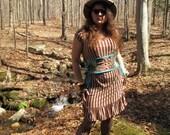Steampunk Brown Stripe Lightweight Knit Dress