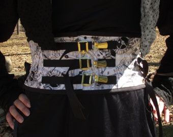 Black & White Clockface Steampunk Belt