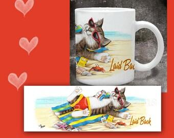 CAT MUG. Laid Back Tabby Cat relaxes on the Beach. Cat Coffee Mug