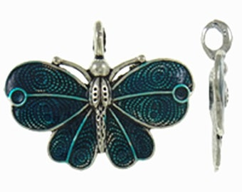 1pc antique silver with Enamel Butterfly Pendant-B64