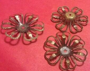 10pc 27mm antique bronze filigree bead caps-2789