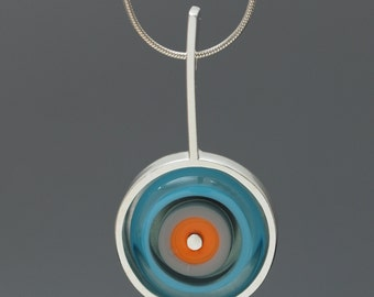 Art Glass Necklace Sterling Silver Framed Orange and Turquoise