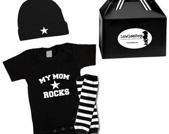 Rockstar Baby Kit My Mom Rocks Gift Set onesie, hat & leg Warmers Punk Rock