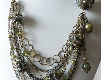 Multi Strand Chain Necklace, Beaded Bead, Black, Green, Antique Brass, Crystals, Glass Pearls, Beadweaving, Beaded Jewelry, Beaded Necklace