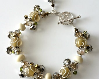 Lampwork Bracelet Etched Frosty Olive and Cream- Crystals White Brass-Silver Beaded jewelry-Beaded Bracelet