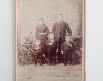 Holiday SALE - Antique Cabinet Card Photo - Sideshow Midget Little Person Murray Triplets - Eisenmann Photograph