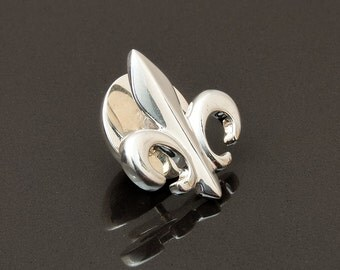 Fleur de Lis Lapel Pin, Sterling Silver,  handcrafted