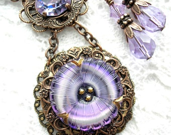 Lavender Blue Pansy Glass Button Pendant with Earrings - Antiqued Copper