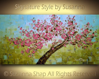 ORIGINAL Art Large Landscape Tree Painting Green Pink Cherry Blossom Home Decor Palette Knife Oil Abstract Painting ~Susanna