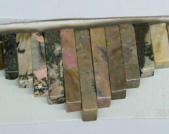Rhodonite Mini Cleopatra Collar Fan 13pc Bead Set C Quality 204T