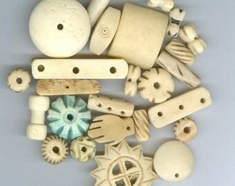 Cream Bone Beads Mixed sizes and shapes 522
