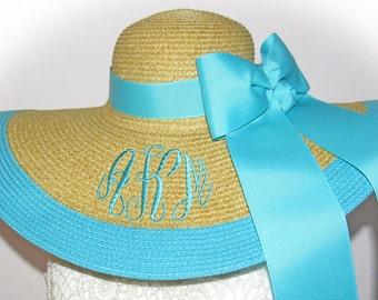 Monogrammed Personalized Natural Floppy Hat Natural & Aqua Teal NEW, Beach, Bride, Wedding, Honeymoon Bridesmaids, Sun, Derby, Cup Race