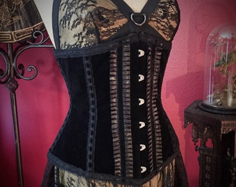 Naughty Velvet Secretary Tuxedo Corset by Louise Black Custom Made to Your Measurements