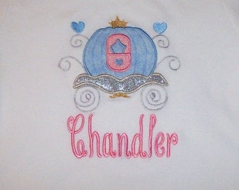 Princess Carriage Sparkly Glitter Applique T-shirt Short or Long Sleeve Monogram - Vacation - Trip - Birthday Party - Cinderella