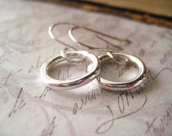 Tiny Hoop Earrings, Fine Silver, Sterling Silver, Tiny Circles, Donut Hoops, Hand Formed, Womens Jewelry, candies64,