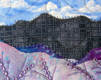 Fabric Postcard Handmade Quilted Postcard Art Landscape Art Hills Greeting Cards Nature Landscape Blue Ridge Mountains Purple Flowers