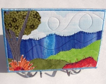 Fabric Postcard Handmade Quilted Postcard Art Landscape Art Hills Greeting Cards Nature Landscape Blue Ridge Mountains Flowers