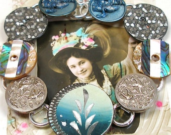 "1800s Antique BUTTON bracelet, French Victorian BIRDS & flowers in teal, 8"" jewellery"