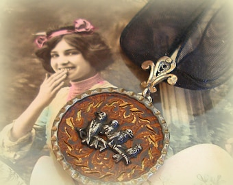 Bird Party BUTTON necklace, Victorian birds on organza, OOAK one of a kind jewellery.