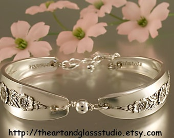 Silver Spoon Bracelet PRIMROSE Jewelry Vintage, Silverware, Gift, Anniversary, Wedding, Birthday