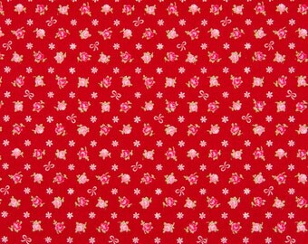 HALF YARD - Mini Red and Pink Rose Buds with White Bows on RED - Flowers, Lolita, Kawaii - Cosmo Textiles, Japanese Import