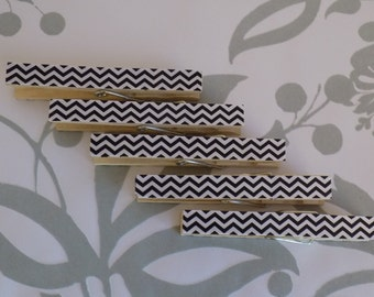 Black White Chevron Decorative Clothes Pins