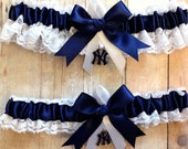 New York Yankees Wedding Garter Set with charms  Lace   Handmade   NY keepsake and toss NNWG