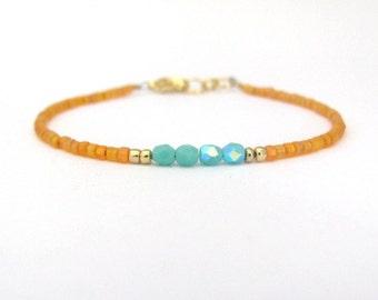 Turquoise Bracelet, Orange Bracelet, Color Block, Seed Bead Bracelet, Friendship Bracelet, Bridesmaid Gift, Minimal Bracelet Beaded Bracelet