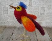 Bird, Handmade, Needle Felted, Wool, Red, Fiber Art Figure, Fantasy,