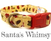 "Christmas Dog Collar - Organic Cotton - Antique Brass Hardware - ""Santa's Whimsy"""
