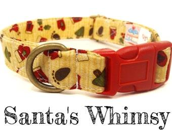 "Christmas Dog Collar - Organic Cotton - Antique Brass Hardware - ""Santa's Whimsy"""