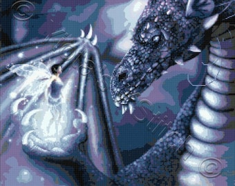 Dragon, the staring contest - fantasy counted cross stitch kit