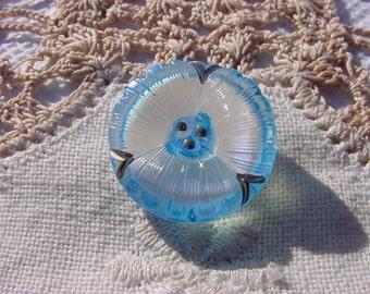 Baby Blue Petite Pansy Czech Glass Button