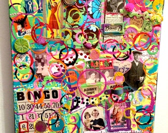 Bingo Etc A Bright And Colorful Mixed Media Collage Painting