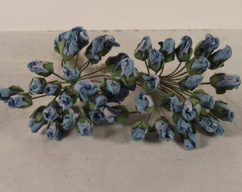 Rose Buds Blue Miniature Parchment Weddings Corsages Dolls Fascinators Flower Crowns 2 Bunches 48 Individual Stems