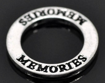 4 MEMORIES Message Rings affirmation circles silver tone (H1782)