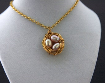Bird's Nest Mother's Necklace, Gold nest with Pearl Eggs, Birthstone Necklace