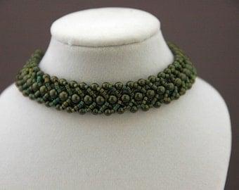 Olive Green Swarovski Pearls and Peacock-Colored Delica Flat Spiral Bracelet