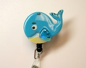 Fused Glass whale Badge Holder (turquoise)