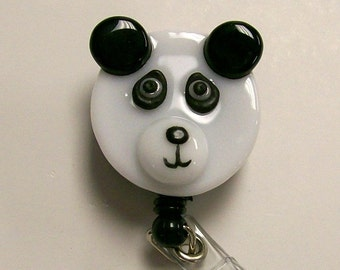 Retractable badge holder Fused Glass Panda