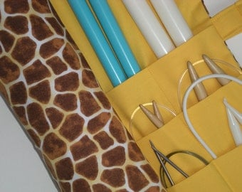 large knitting needle case - knitting needle organizer - giraffe print with sunny yellow - 36 pockets