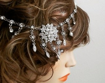 Great Gatsby Headpiece, Bridal Hair Jewelry, Wedding Headband Crystal, Bridal Headpiece Vintage, Prom, Party, Pearl Rhinestone Hair Piece