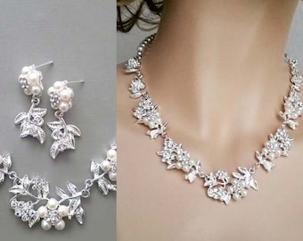 Bridal Jewelry Set Pearl Crystal Necklace Earrings Wedding Set Floral Wedding Jewelry, Bridal Necklace Earrings
