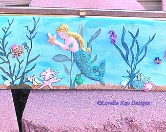 Mermaids Paradise Handbag Clutch Purse One-of-a-Kind Mixed Media Up Cycled Art Purse