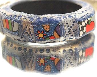 Pop Art Inspired Bangle Bracelet Broken China Sculpted One-of-a-Kind Colorful Wide Bracelet